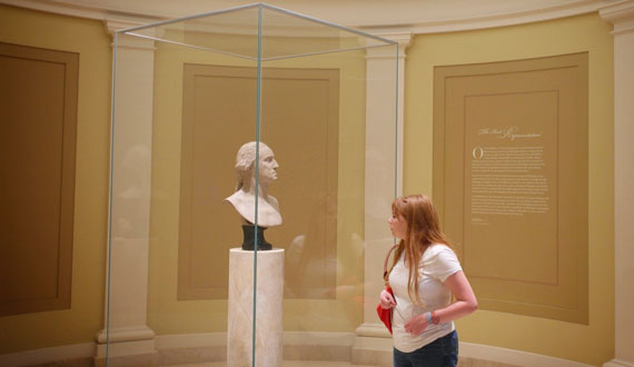 My daughter admiring George Washington