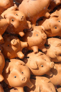 Picture of a pile of piggy banks